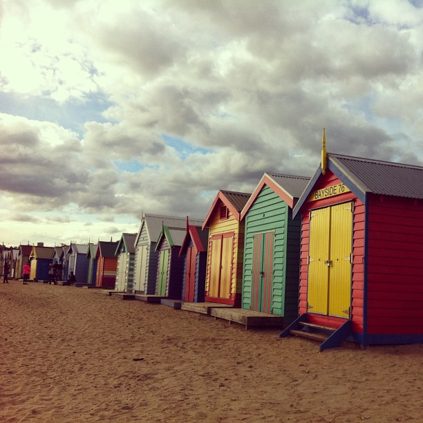 The famous Brighton Beach Bathing Boxes. Beautiful day!