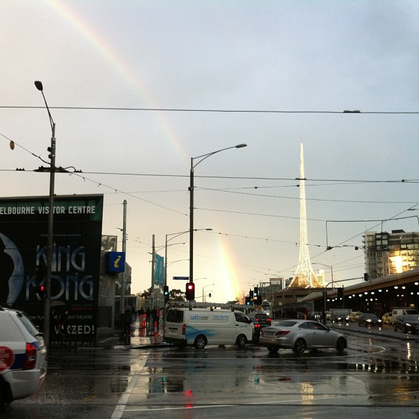Rainbow after the storm as water still filled our boots, Swanston Street