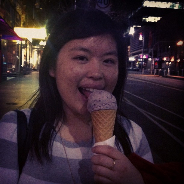 Enjoying a sticky rice flavoured ice-cream at Passionflower, Bourke Street!